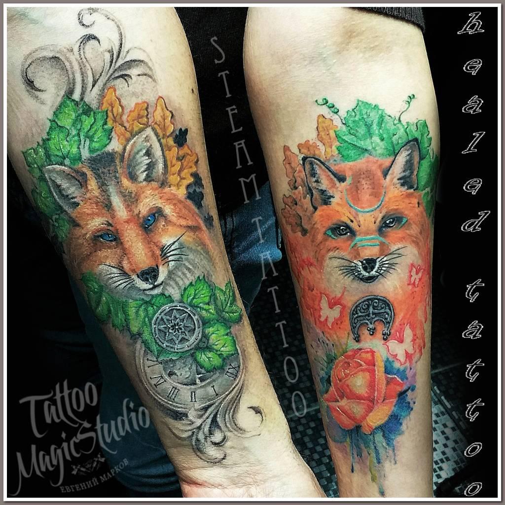 зажившая парная татуировка