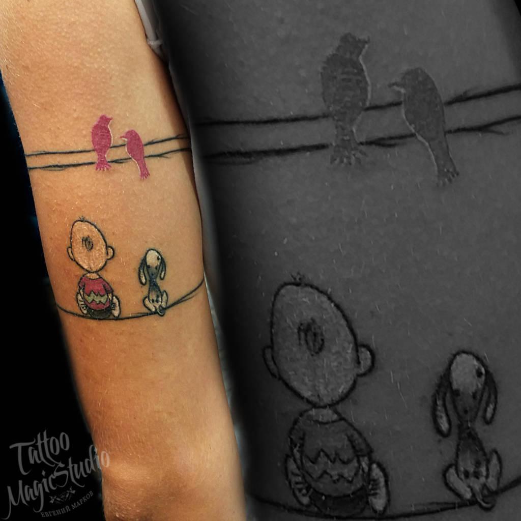 мальчик собачка щенок птички миниатюрная татуировка boy dog puppy birds miniature tattoo