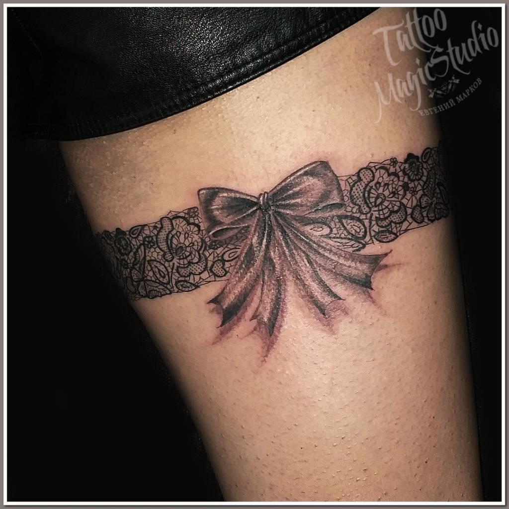 подвязка тату бантик garter tattoo bow