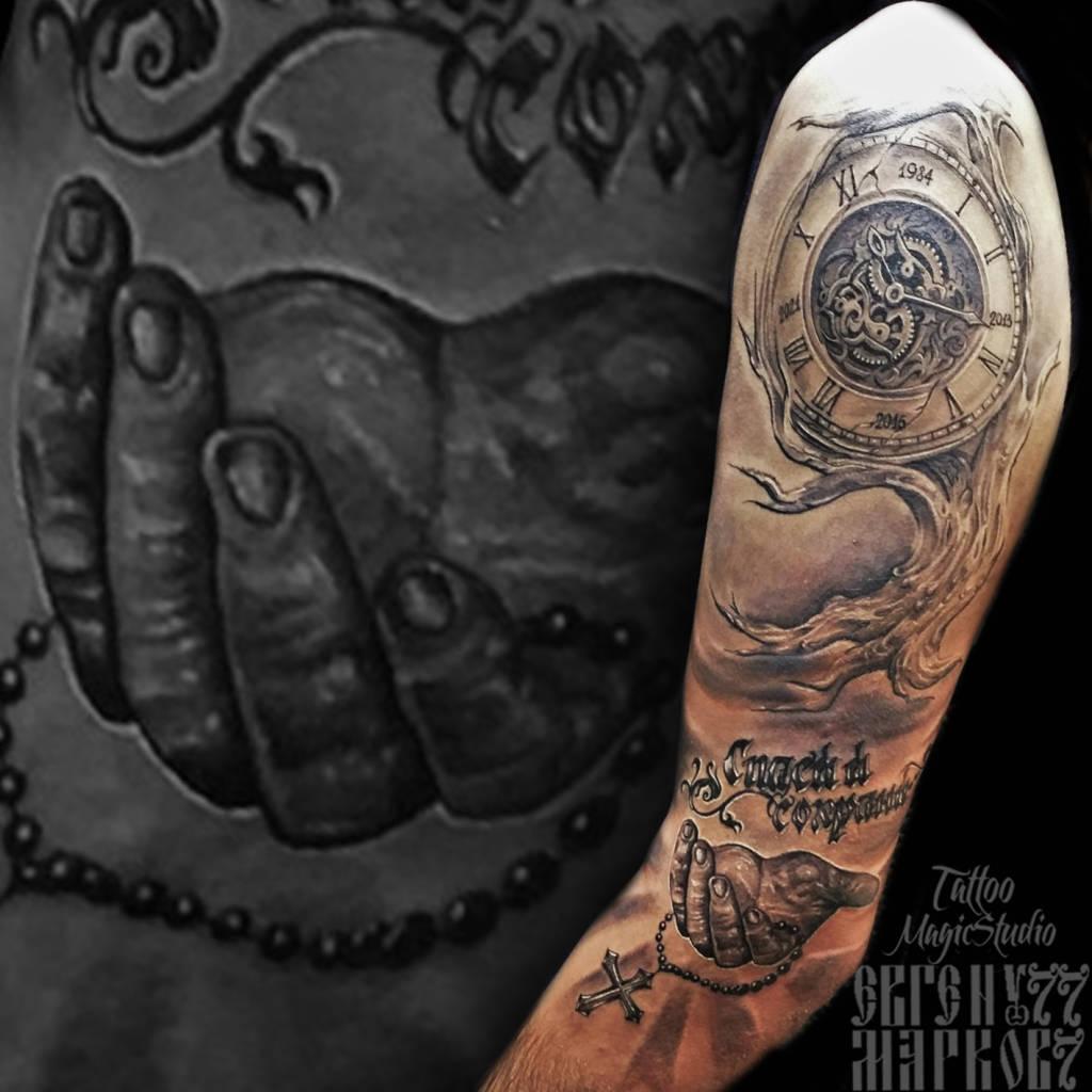 рука в молитве крест спаси и сохрани дерево часы hand in prayer cross save and save the tree clock