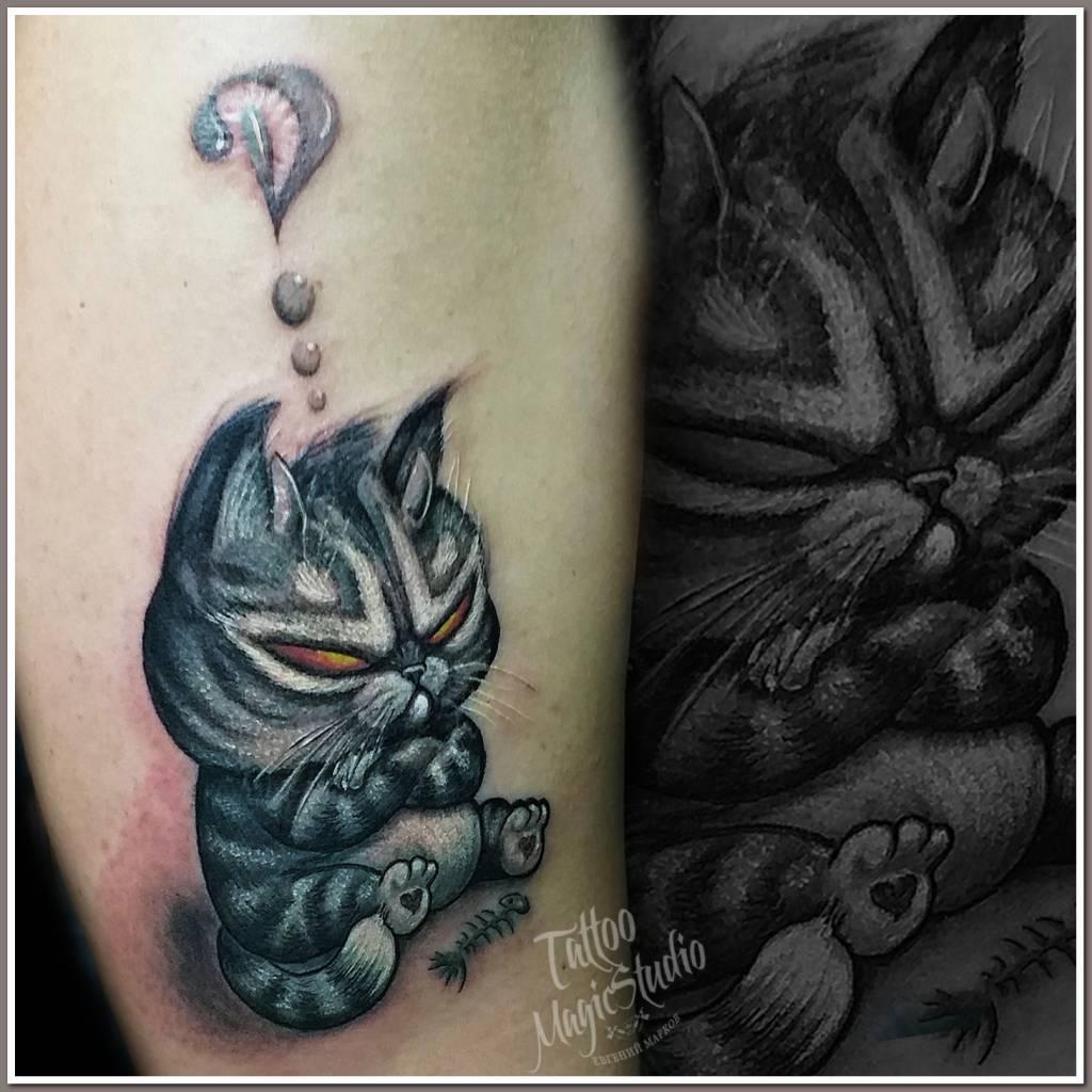 сердитый котик миниатюра неотрадиция angry cat miniature neo traditional tattoo