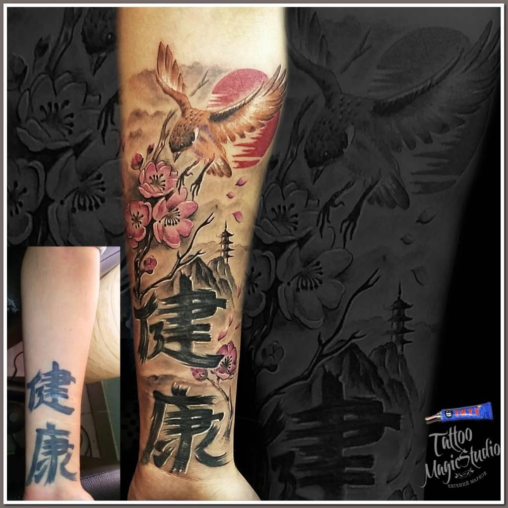 correction of old sakura tattoo hieroglyphics birdie Tibet коррекция старой татуировки сакура иероглифы птичка тибет