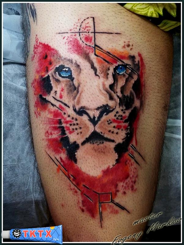лев, акварель (по работе неизвестного мне мастера, с небольшими изменениями)